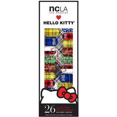 NCLA Nail Wraps, Hello Kitty Punk Plaid 1 oz (30 ml) ($18) ❤ liked on Polyvore featuring beauty products, nail care, nail treatments and ncla