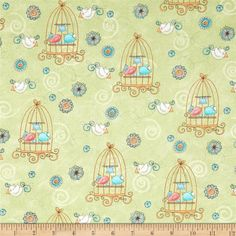 Bird Wise Birdcage Green from @fabricdotcom  Designed by Julie Dobson Miner/Artworks! and licensed to StudioE, this cotton print fabric is perfect for quilting, apparel and home decor accents. Colors include blue, pink, green and white.