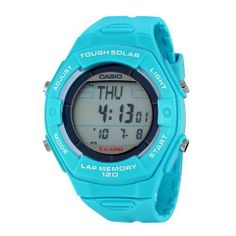 Casio Women's LWS200H-2ACF Solar Runners 120-Lap Light Blue Digital Sport Watch Casio. $29.96. 5 alarms. Water-resistant to 165 feet (50 M). 1/100th second stopwatch with 120 lap memory. Tough solar powered; LED light; World time. Countdown timer; 12/24 hour formats. Save 25%!