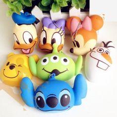 Disney character bread bun squishy charms with ball chain