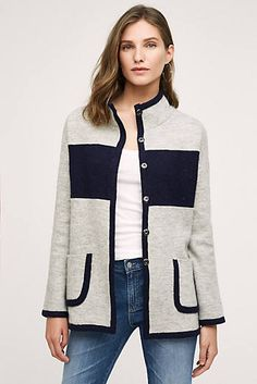 Colorblocked Sweater Coat