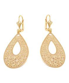 Another great find on #zulily! Gold Swirl Cutout Teardrop Earrings #zulilyfinds