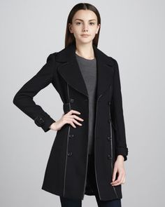 Burberry London Leather-Trim Stretch-Wool Coat