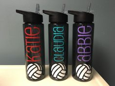 This listing is for one 24 ounce water bottle customized with volleyball and name. The bottles are made of BPA-free, double wall acrylic and come