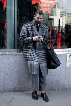 Crazy pattern check line coat