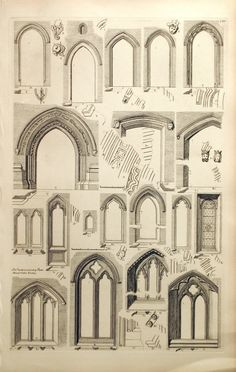 1845 Rare Large English Antique Engraving of doorways and doors