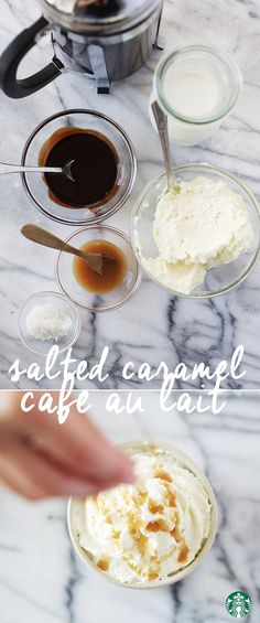 Recipe: Salted Caramel Café au Lait: A perfect blend of sweet chocolate and caramel balanced with two touches of salt Starbucks Recipes, Starbucks Drinks, Coffee Recipes, Coffee Drinks, Hot Coffee, Yummy Drinks, Yummy Food, Mocha, Chocolate