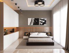Camera da letto moderna, stile scandinavo che presenta un armonioso mix di colori e materiali - colori bianco, grigio tortora e marrone - illuminazione diffusa sul soffitto e strisce led lungo una nicchia