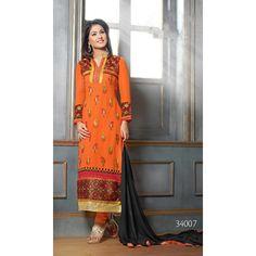 Buy Fabfiza Akshara Ornage Georgette Embroidered Designer Straight Suit by fabfiza, on Paytm, Price: Rs.1699?utm_medium=pintrest