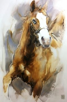 Marli Hommel creates a portrait that reflects the features, character and soul of your beloved animal. She uses photos, but can also come to capture your . Watercolor Horse, Watercolor Animals, Watercolor Paintings, Horse Pictures, Pictures To Paint, Stella Art, Rooster Painting, Acrilic Paintings, Horse Artwork