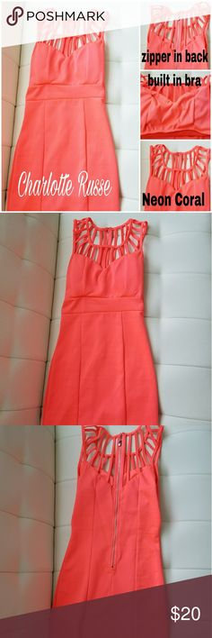 Charlotte Russe Bright Coral Dress Size Small Form fitting dress Bright color to stand out in the crowd In good condition  No trades Ask questions before purchase No returns Charlotte Russe Dresses