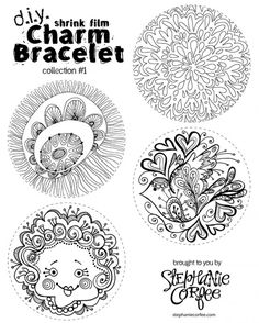 DIY Shrink Film Charm Bracelet Coloring Page By Stephanie Corfee