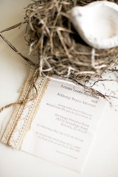 rustic wedding invitations, not sure what's up with the birds nest?