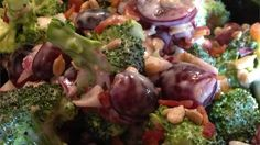Traditional broccoli salad with the addition of red grapes, bacon, and sunflower seeds is a nice combination of sweet and savory and perfect for summer picnics.