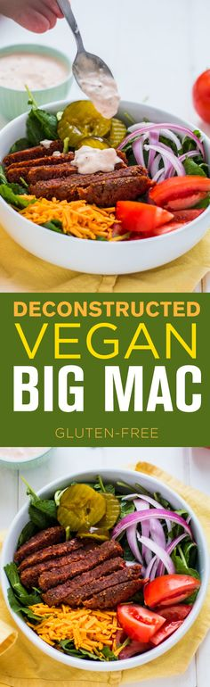 Delicious Deconstructed Vegan Big Mac with Beyond Meat Burger—vegan and gluten-free.
