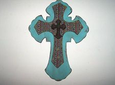 """DECORATIVE WALL DECOR 24"""" X 18"""" TURQUOISE BRO RUST DISTRESSED STACKED  CROSS NEW"""