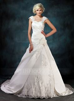 Ball-Gown Sweetheart Chapel Train Satin Tulle Wedding Dress With Ruffle Beading Appliques Lace Flower(s) (002000435)