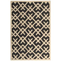Dhurries Black Ivory Wool Rug