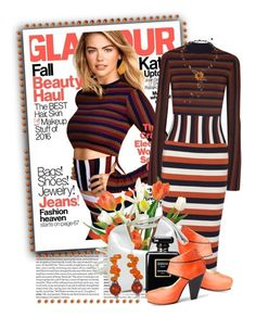 """Kate Upton and Glamour Magazine U.S. October 2016"" by queenrachietemplateaddict ❤ liked on Polyvore featuring Victoria Beckham, Nine to Five, NOVICA, Chanel, kateupton, Glamour, striped and MagazineCover"