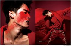 Feng Xiang Models Bold Fall Fashions from Prada, Versace + More for Elle Men Hong Kong image Elle Men Hong Kong Fashion Editorial 004 800x522