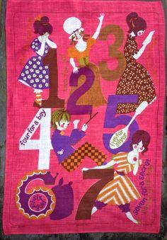 Vintage Pat Albeck? 'secrets' Irish Linen Jonelle 1960s Nursery Rhyme Tea Towel