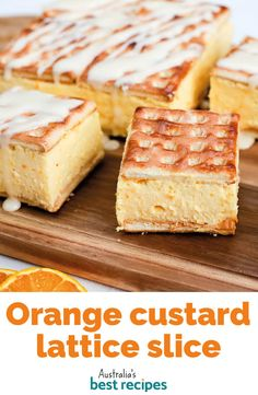 Orange custard lattice slice Here's a different type of custard slice that has a delicious orange twist. It has fresh orange juice in both the custard and the icing, and uses Lattice biscuits to make it super easy to prepare. Orange Recipes, Sweet Recipes, Cake Recipes, Dessert Recipes, Yummy Recipes, Breakfast Recipes, Recipies, Delicious Desserts, Yummy Food