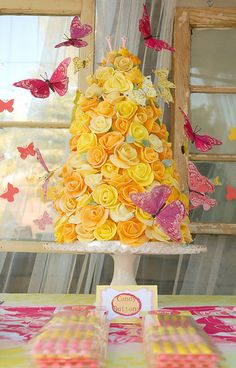 Butterfly Cake - How to Make a Rose Tower Cake ~ Step-by-step tutorial