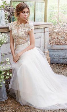 Style 2650, Tara Keely lace capped sleeve wedding dress #weddingdress