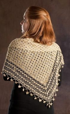 Free Universal Yarn Pattern : Crocheted Shawl with Sequins. I really like the look of the body of the shawl