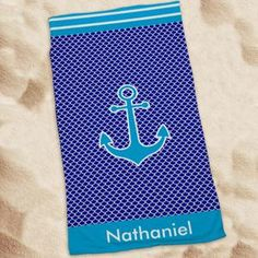 Anchor Beach Towel With Embroidery | whatgiftshouldiget.com