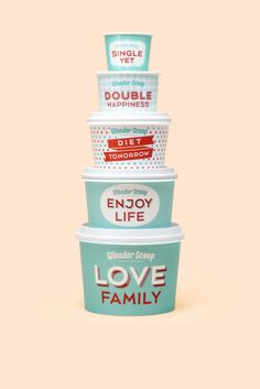 Put that diet off until tomorrow—seriously, Wonder Scoop will make it worth  it. Brand Strategy Team of Emart Co., Ltd. designed this super cute  vintage-inspired ice cream brand, complete with a delicate color palette  and playful patterns. Plus, we can't get enough of the sizing phrases on  th