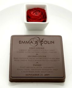 Creative Wedding & Event Menus - Edible Chocolate Wedding Menu