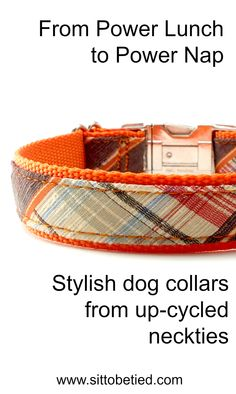 Your dog will look like a little executive! Retro plaid dog collar in orange. Fun! #plaid #orangedogcollar #hipsterdog