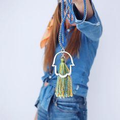 WEBSTA @ fashion_glance - Double Denim ✖️ ✋🏻 Necklace 💙💛