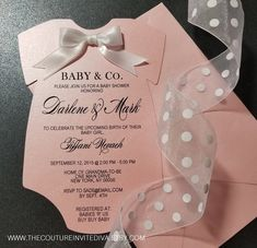 Baby and Co. Onesie Invitation Baby & Co. Baby Girl Shower Themes, Baby Shower Invites For Girl, Baby Shower Decorations, Ballerina Baby Showers, Little Man Shower, Invitation Baby Shower, Bebe Shower, Baby Shower Invitaciones, Baby Co