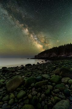 """""""Boulder Beach"""" is a blend of 13 exposures: 10 shots stacked for the sky and three foreground exposures at different focus distances. Boulder Beach, Acadia National Park, ME © Adam Woodworth shot with the Nikon D810A."""