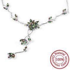 5.2ct Mystic Rainbow Topaz Necklaces Genuine 925 Sterling Silver – Gemstonese