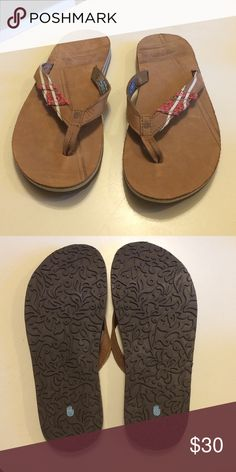 4f3b275859c22 NWOT Teva flip flops NWOT Teva flip flops Tan leather with embroidered  accent Have been stored in closet Teva Shoes Sandals