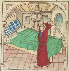Antonius <von Pforr> Buch der Beispiele — Schwaben, um 1480/1490 Cod. Pal. germ. 85 Folio 146v Medieval Bed, Renaissance, Bed Scene, Green Knight, Medieval Furniture, Medieval Manuscript, Medieval Fashion, 14th Century, Historical Clothing