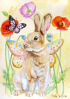 OOAK rabbit original watercolor 5x7Rabbit Art nursery by asho, $11.00
