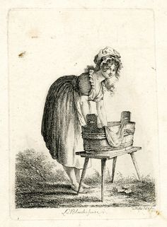 Washerwoman holding a white sheet into a bucket, looking at the viewer. German. British Museum, Acc. #1873,1213.1824