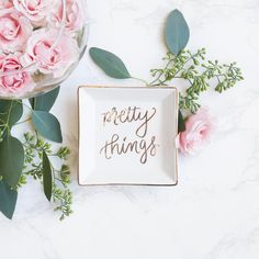 Gold Foil Pretty Things Jewelry Dish Dishes Trinket Tray Gold Ring Dish Home Decor Gift For Her Ring Holder Jewelry Holder Fashion Inspirational Motivational