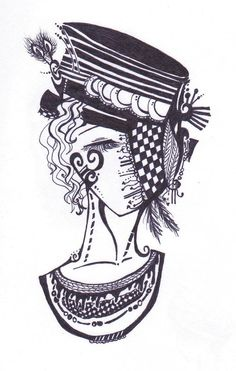 Abstract face ink drawing by my very own Christina Jones.
