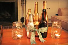 Speakeasy Engagement Party: painted beer and wine bottles in clusters