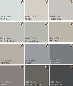 Recommended palette of grey Benjamin Moore-- Getting ready to paint my house and I'm obsessed with GRAY. It's clean, nuetral, calm and versatile.