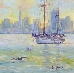 Sail boat anchored at sunset, oil painting, landscapes painting, impressionism, ocean, sea, seaside, blue, sky, clouds, California, by Dominique Amendola