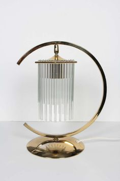 Unusual Brass Table Lamp with Cascading Glass Rods by Gaetano Sciolari