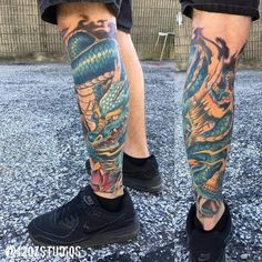 Finished Japanese style dragon leg sleeve tattoo by Alex Feliciano.