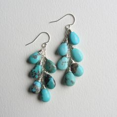 Turquoise Cascade Earrings with Sterling Silver by mrsrobinsonsaffair on Etsy