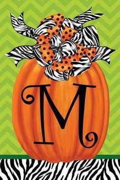 Letter M fall pumpkin monogram garden flag decorated with a combination of black and white zebra striped as well as orange and black polka dot ribbons and lime green chevron background.For Megan and Maddic.